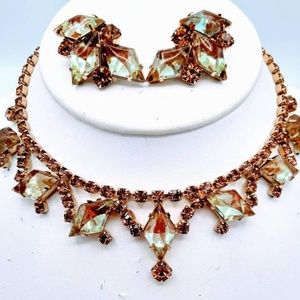 Vintage Saphiret Rhinestone Necklace and Earrings